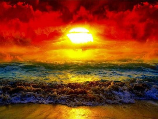 Fire and water sun and ocean